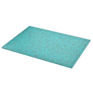 Retro Style Vintage Floral Turquoise Teal Peacock Cutting Board
