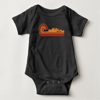 Retro Style Wheeling West Virginia Skyline Baby Bodysuit