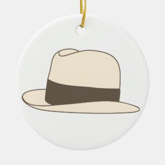 retro styled fedora hipster hat ceramic ornament