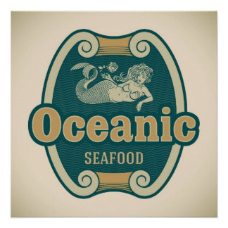 Retro-styled mermaid seafood label poster