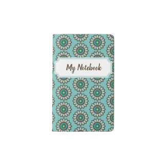 Retro Stylised Teal Flower Notebook with Nameplate