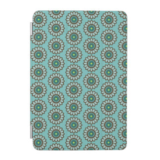 Retro Stylised Teal Flower Print iPad Cover