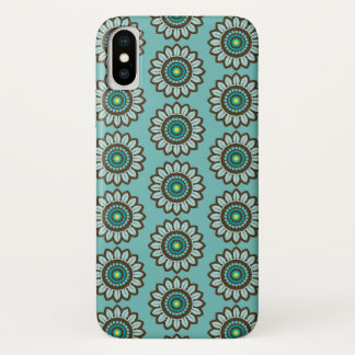 Retro Stylised Teal Flower Print iPhone Case
