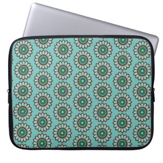Retro Stylised Teal Flower Print Laptop Sleeve