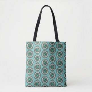 Retro Stylized Teal Flower Print Bag