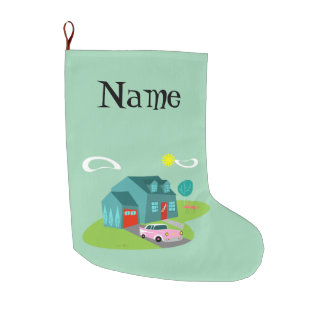 Retro Suburban House Christmas Stocking