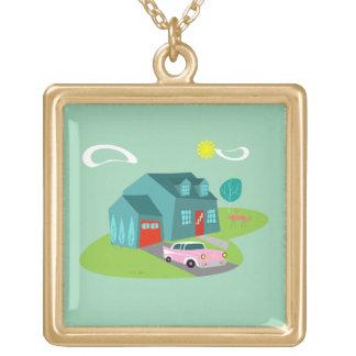 Retro Suburban House Necklace