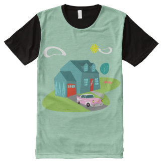 Retro Suburban House Panel T-Shirt