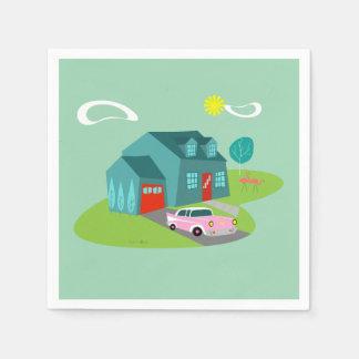 Retro Suburban House Paper Napkins Paper Napkin