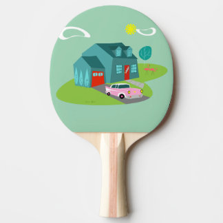 Retro Suburban House Ping Pong Paddle