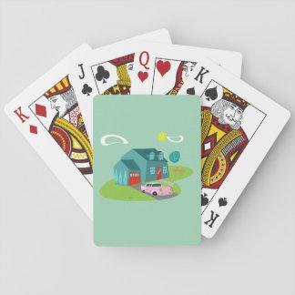 Retro Suburban House Playing Cards