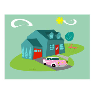 Retro Suburban House Postcard