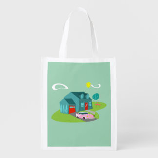 Retro Suburban House Reusable Grocery Bag