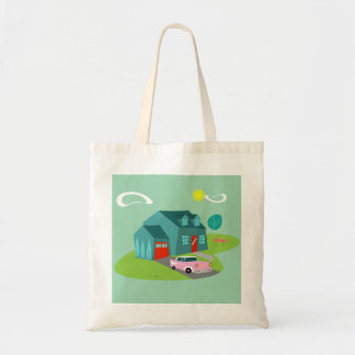 Retro Suburban House Tote Bag