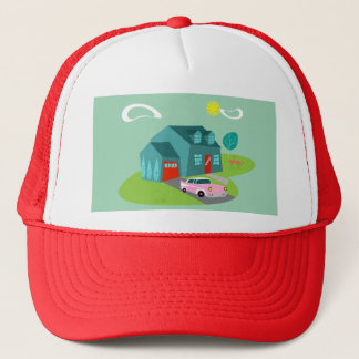 Retro Suburban House Trucker Hat