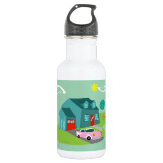 Retro Suburban House Water Bottle