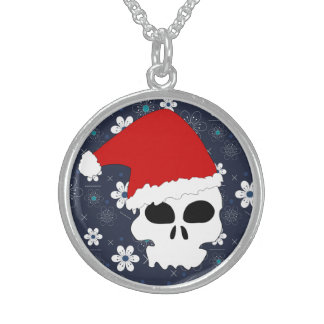 Retro Sugar skull blue Christmas Necklace