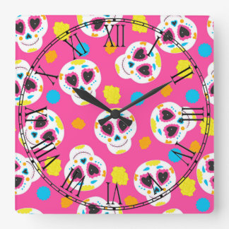 Retro Sugar Skull Wall Clock