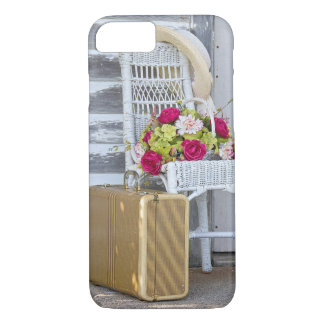 retro suitcase and flower basket iPhone 8/7 case