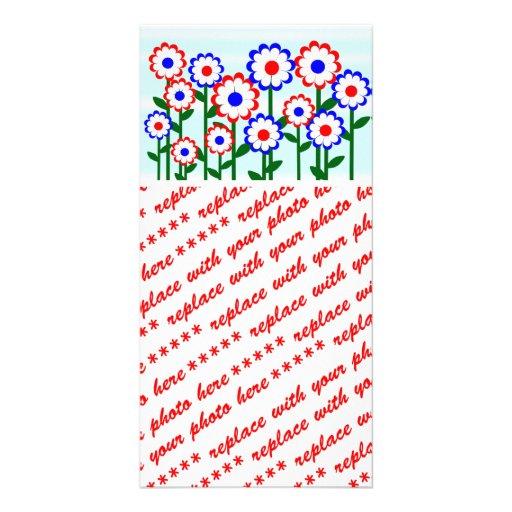 Retro Summer Flowers Photo Greeting Card