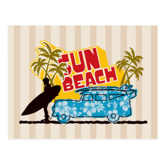Retro Sun & Surf Postcard