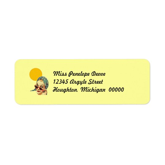 Retro Sunny Day @ The Beach Return Address Labels