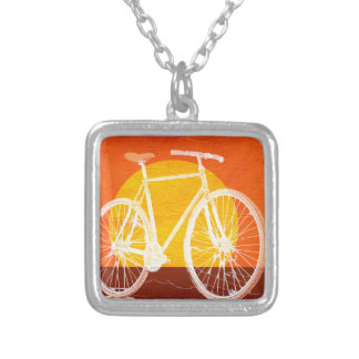 Retro Sunset Bicycle - Ride a Bike Square Pendant Necklace