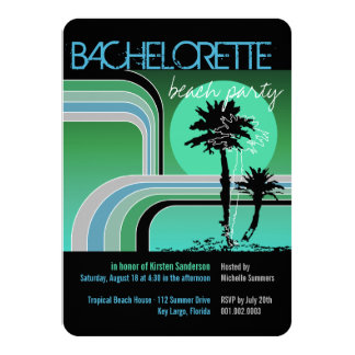 Retro Sunset Tropical Palm Tree Bachelorette Party 11 Cm X 16 Cm Invitation Card