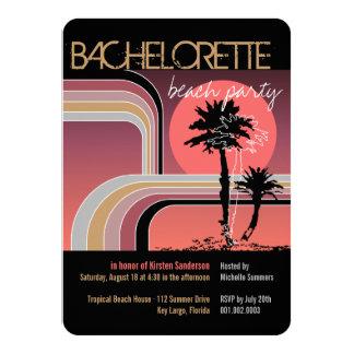 Retro Sunset Tropical Palm Tree Bachelorette Party Card