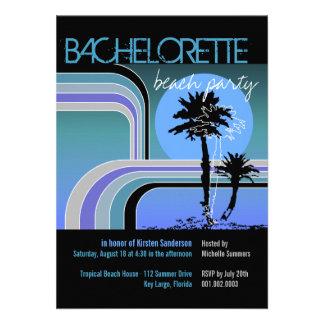 Retro Sunset Tropical Palm Tree Bachelorette Party Invite