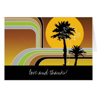 Retro Sunset Tropical Palm Trees Wedding Thank You Note Card