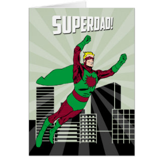 Retro Superhero Dad in the Air for Father's Day Card