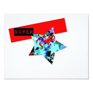 Retro Superstar In Day-Glo 11 Cm X 14 Cm Invitation Card