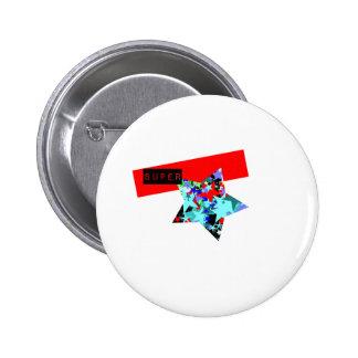 Retro Superstar In Day-Glo Pinback Button