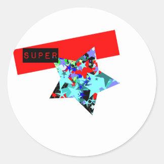 Retro Superstar In Day-Glo Round Stickers