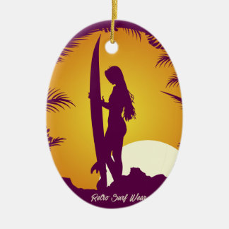 Retro Surf Wear Ceramic Ornament