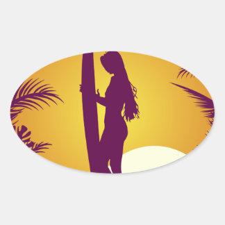Retro Surf Wear Oval Sticker