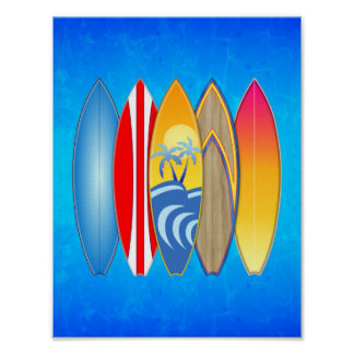 Retro Surfboards Poster