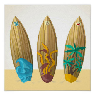 Retro Surfboards Sun Surf Sand Poster