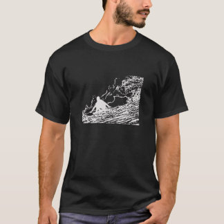Retro Surfing Vintage Style T-Shirt in Black