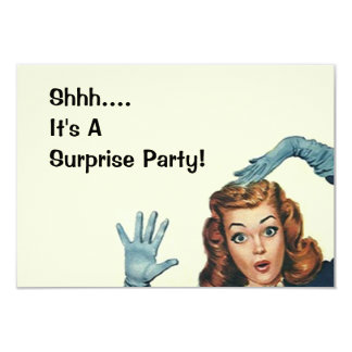 Retro Surprise Party Fun Expression Vintage Style 9 Cm X 13 Cm Invitation Card