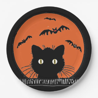 "Retro Surprised Black Cat Halloween 9""Paper Plate"