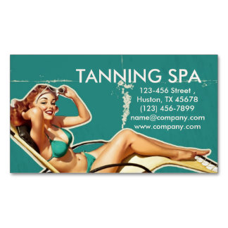 retro swimsuit pin up girl beauty tanning salon Magnetic business card