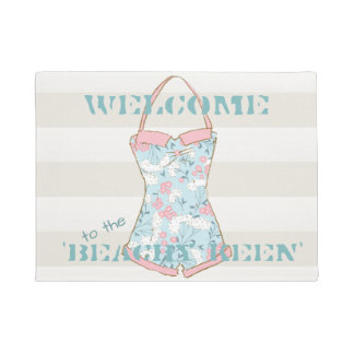 Retro Swimsuit with Pale Hazelnut Cabana Stripes Doormat