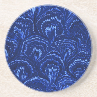 Retro Swirls Sapphire Blue Sandstone Coaster