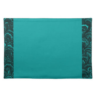 Retro Swirls Teal Turquoise Placemats