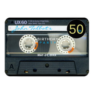 Retro T6 Audiotape 50th birthday Party Invitation