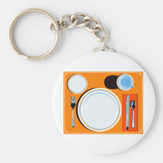 Retro Table Setting Basic Round Button Key Ring