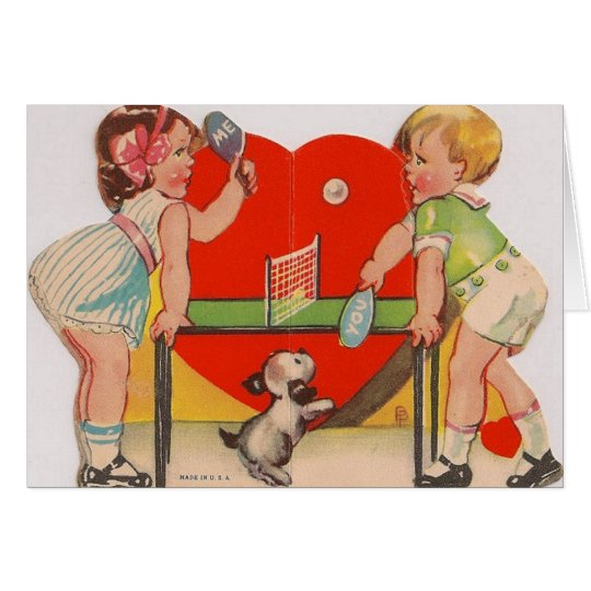 Retro Table Tennis Valentine's Day Card