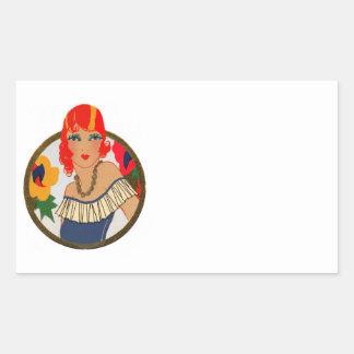 Retro Tally Card Redhead Rectangular Sticker